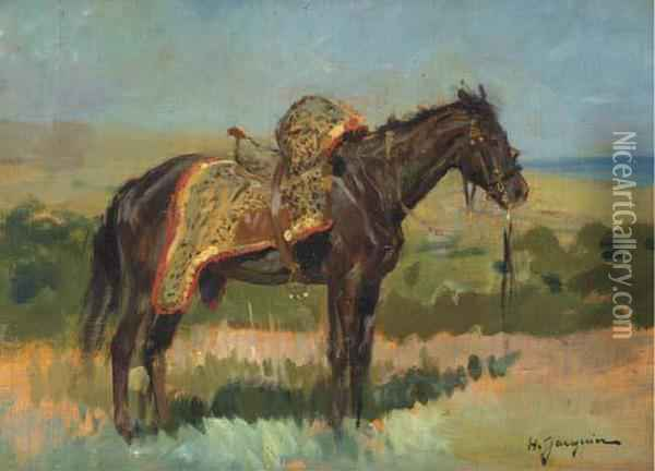 Cheval Noir Oil Painting - Henry Jacquier