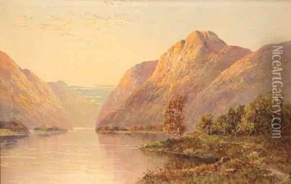 Highland Loch At Sunset With A Castle Ruin On The Opposite Bank, Together With Another Similar Oil Painting - Frank E. Jamieson