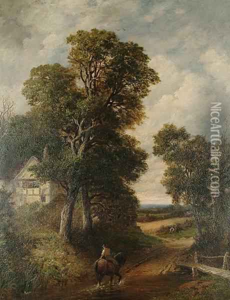 Crossing The Ford Oil Painting - William Samuel Jay