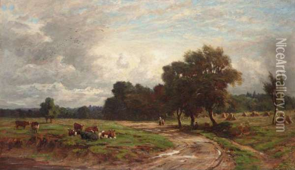 Extensive Landscape With Cattle Oil Painting - William Samuel Jay