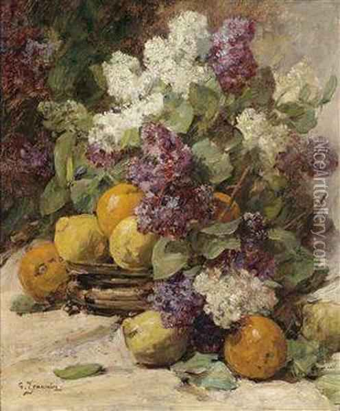 Still Life With Lilac And Lemons Oil Painting - Georges Jeannin