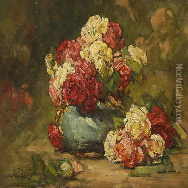 Roses In A Vase Oil Painting - Georges Jeannin