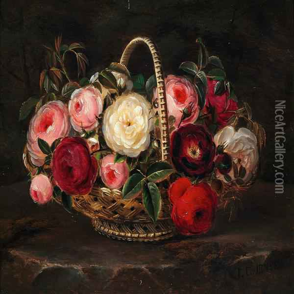 Various Roses In A Basket Oil Painting - Johan Laurentz Jensen