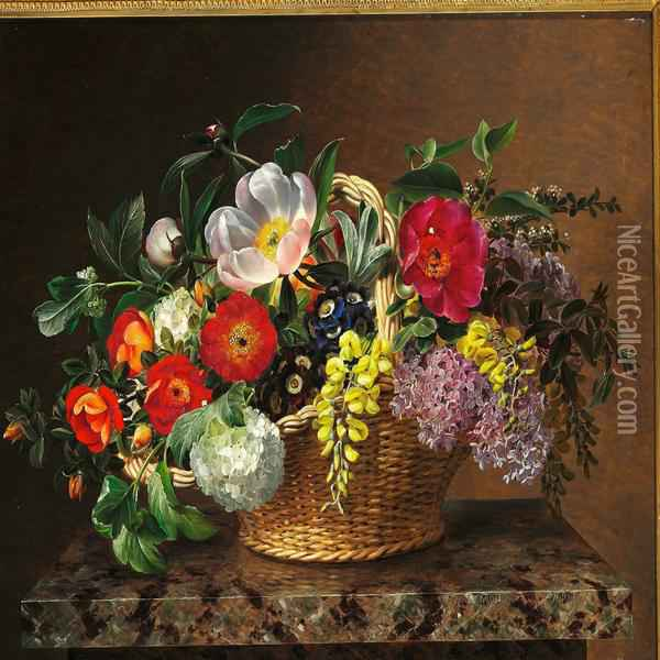 Primulas, Lilacs, Dog Roses, Laburnums And Peonies In A Basket On A Marble Pedestal Oil Painting - Johan Laurentz Jensen