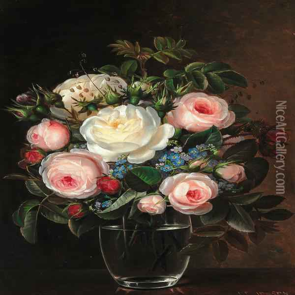 Pink And White Roses Together With Forget-me-nots In A Glass Vase Oil Painting - Johan Laurentz Jensen