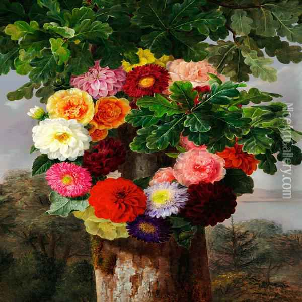 Wreath Of Dahlias On An Oak Tree Oil Painting - Johan Laurentz Jensen