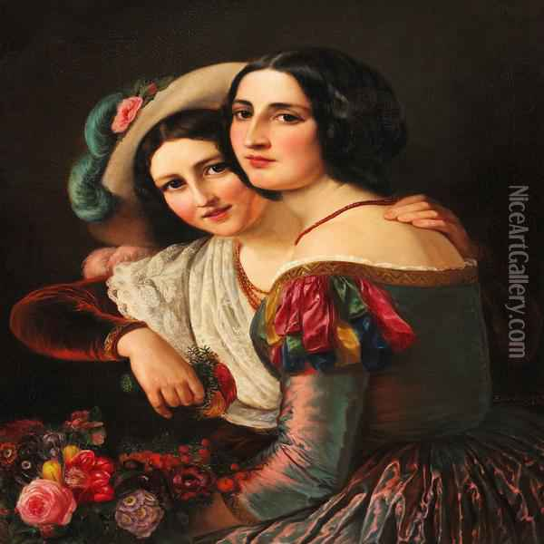 Two Young Italian Women Dressed In Colourful Gowns For The Carnival Oil Painting - Anna Maria Elisabeth Jerichau-Baumann