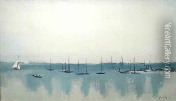 Sail Boats And Reflections Oil Painting - Joe L. Jones