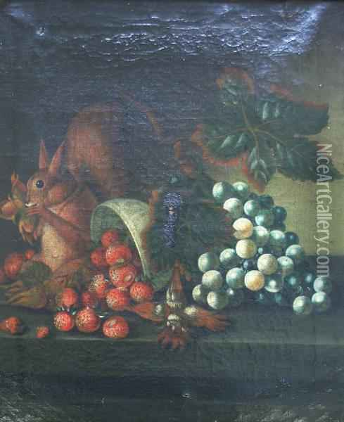 A Squirrel Eating Nuts By A Bowl Of Strawberries And Grapes Oil Painting - William Jones Of Bath