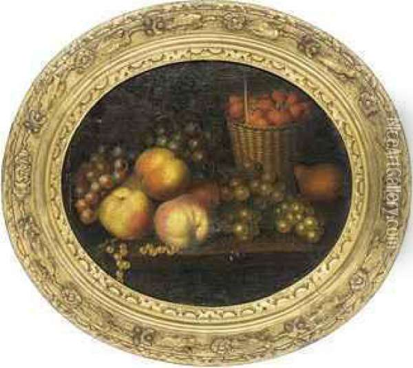 Grapes, Apples, Strawberries In A Basket And A Pear On Aledge Oil Painting - William Jones Of Bath