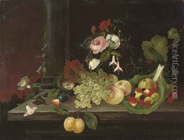 Grapes, Peaches, Strawberries, Cherries, Gooseberries, Greengagesand Convolvulus On A Stone Ledge, With A Bird's Nest And A Vase Ofroses, Carnations And Fuchsia Oil Painting - William Jones Of Bath