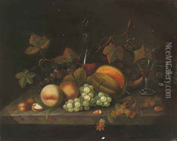 Peaches, Grapes And Hazlenuts On A Marble Ledge, With A Decanterand Glasses Of Wine And Water Oil Painting - William Jones Of Bath