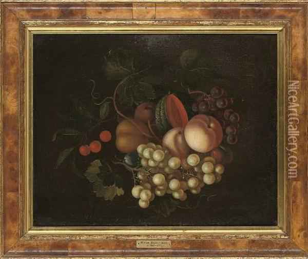 Grapes On The Vine, Plums, Peaches, A Melon And Cherries Oil Painting - William Jones Of Bath