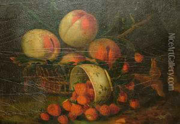 Strawberries And Beaches With A Bowl And A Basket And Peaches, Grapes And Strawberries On A Ledge Oil Painting - William Jones Of Bath