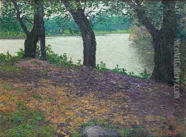 On The River Oil Painting - Nikolaevich Karl Kahl