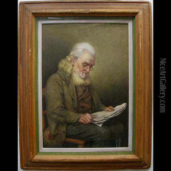 Old Man Reading The News Oil Painting - Henry Wright Kerr