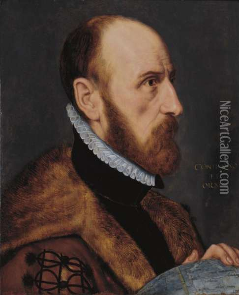 Sold By The J. Paul Getty Museum To Benefit Future Painting Acquisitions              Portrait Of Abraham Ortelius, In Near Profile, Bust-length, Facing To The Right, Resting His Left Hand On A Globe Oil Painting - Adriaen Thomasz Ii Key