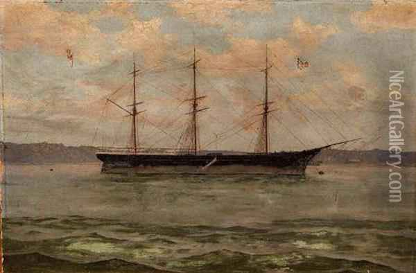 Ship Portrait The Clipper Pekina At Anchor In Port Augusta Oil Painting - France Keys