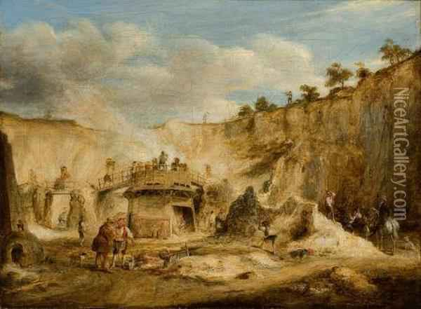 Craigleith Quarry Oil Painting - William Kidd