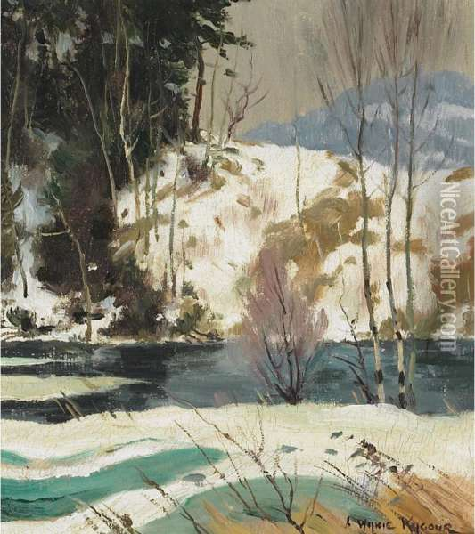 Stream In Winter Oil Painting - Andrew Wilkie Kilgour