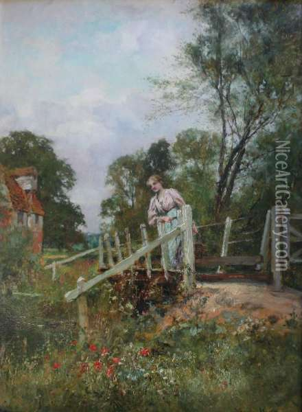 Lady On A Country Bridge Oil Painting - Henry John Yeend King