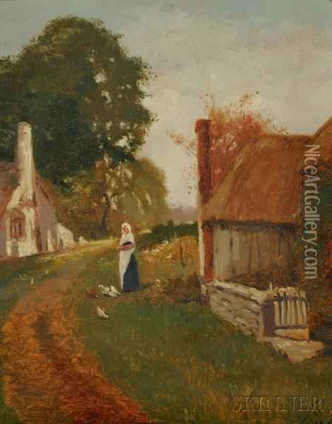 Peasant Girl With Chickens Oil Painting - Henry John Yeend King
