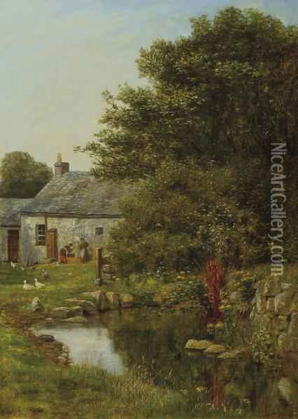 At The Mill Pond Oil Painting - Henry John Yeend King