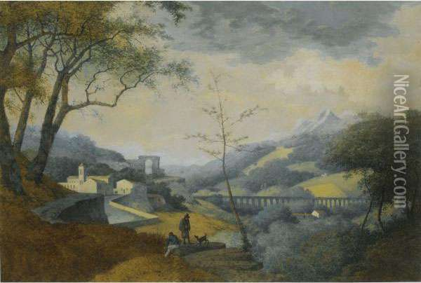 An Italianate Landscape, With A Monastery And An Aqueduct In Thevalley Below Oil Painting - Martheus Derk Knip