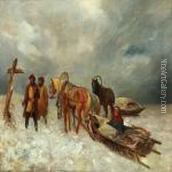 Winterlandscape Oil Painting - August Knoop
