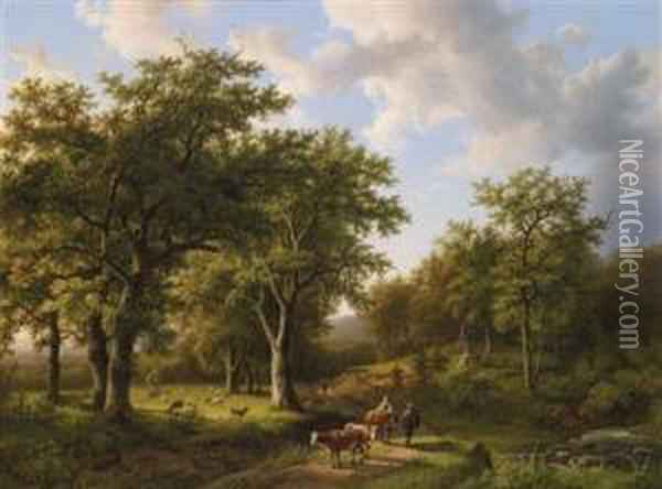 Woodland Landscape With Herdsman And Cattle Oil Painting - Barend Cornelis Koekkoek