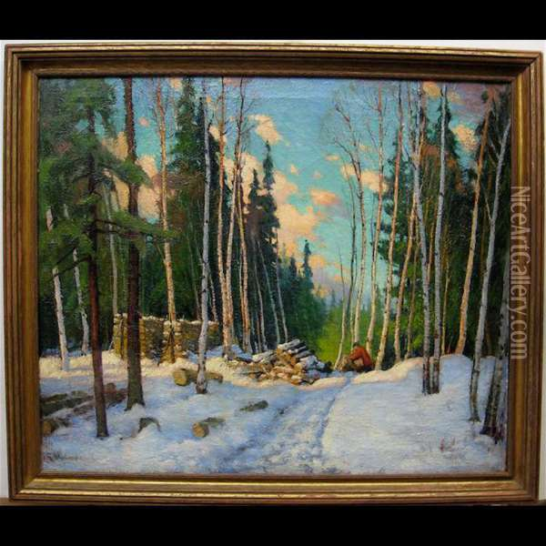 Logging In Winter Oil Painting - George Arthur Kulmala