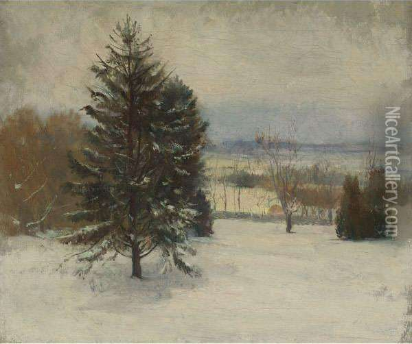 Snow. January, Southerly Wind, Cloudy Sky And Sunlight Oil Painting - John La Farge