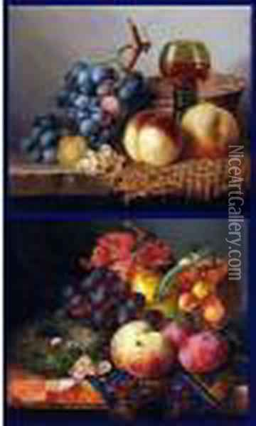 Still Life Study Of Mixed Fruit, Basket, Wine Glass Oil Painting - Edward Ladell