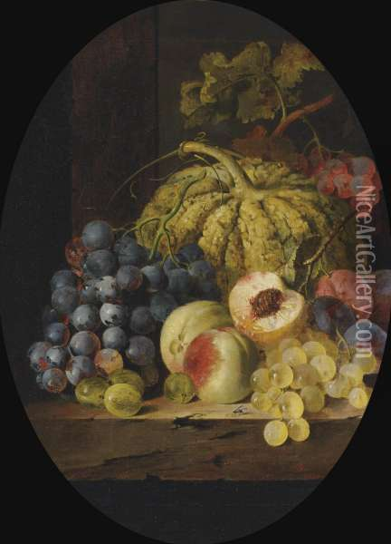 Fruit On A Wooden Ledge, In An Oval Mount Oil Painting - Edward Ladell