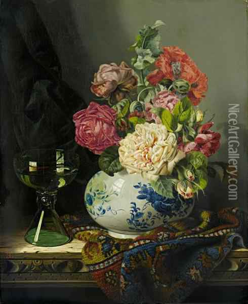 Roses In A Blue And White Vase With A Roemer And A Turkish Carpet Oil Painting - Edward Ladell