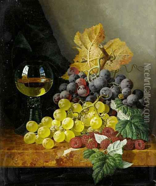 Still Life With Fruit And A Glass On A Marble Ledge Oil Painting - Edward Ladell