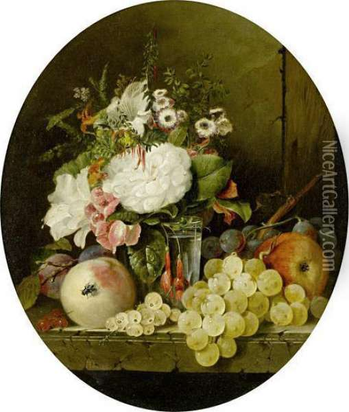 Still Life With Flowers And Fruit On A Marble Ledge Oil Painting - Edward Ladell