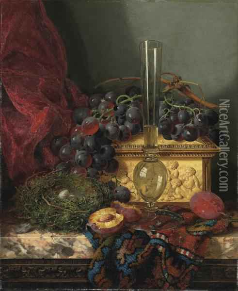 Still Life With Grapes, Plums, A Bird's Nest, An Ivory Casket And A Glass Oil Painting - Edward Ladell