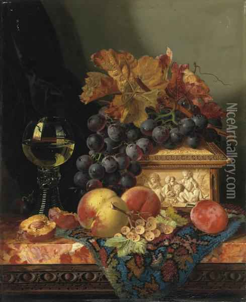 Still Life With Grapes, Peaches, Plums, Whitecurrants, An Ivory Casket And A Roemer Oil Painting - Edward Ladell