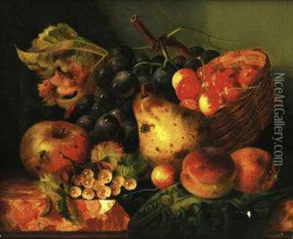 Still Life Of An Apple,  A Pear,  Peaches And Grapes In A Basket On A Ledge Oil Painting - Ellen Ladell