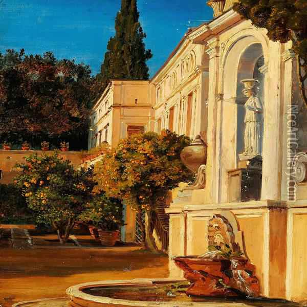 An Italian Palace Garden Oil Painting - Thorald Laessoe