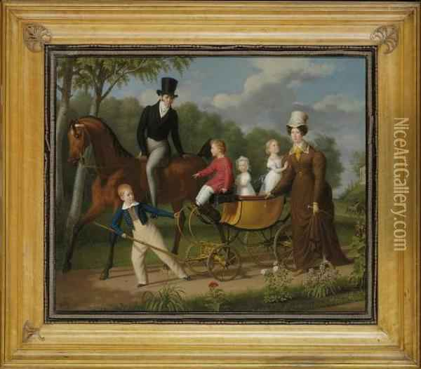 Portrait Of A Gentleman On Horseback, Said To Be The Russian Architect Voronikhin In The Grounds Of Pavlosk Palace, With His Wife And Children Oil Painting - Anthelme-Francois Lagrenee