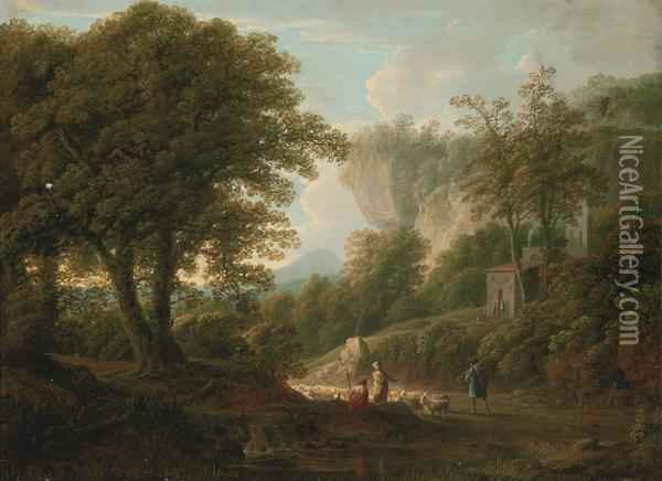 A Mountainous Wooded Landscape With Drovers And Their Flock On A Track Oil Painting - George Lambert