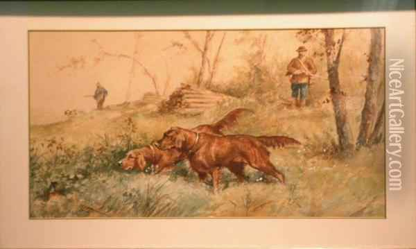 Two Irish Setters On Point Oil Painting - L. Langlois