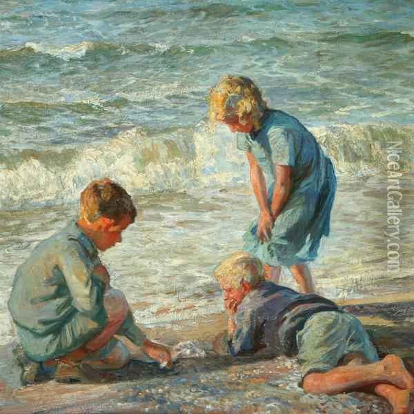 Playing Children On Thebeach Oil Painting - Knud Larsen