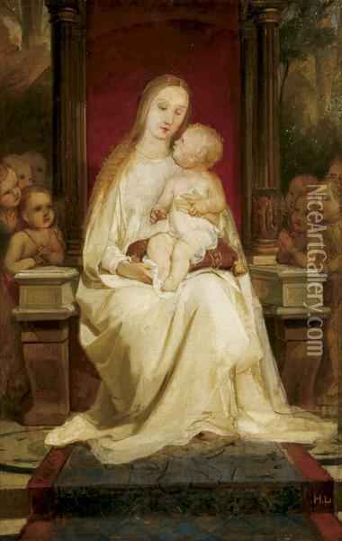 The Madonna And Child Enthroned Oil Painting - Heinrich Lauenstein