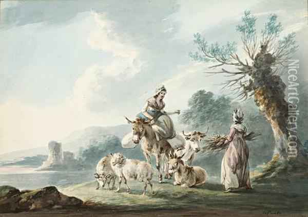 Two Women, Donkeys, A Cow And Sheep In A Landscape Oil Painting - Peter La Cave