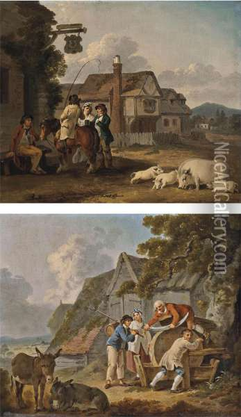 Figures Outside An Inn, With A Sow And Piglets, Houses Beyond Oil Painting - Peter La Cave