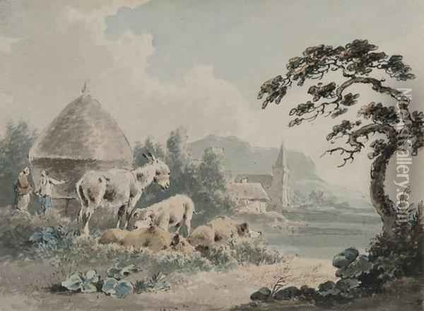 Pigs And Donkey By A Haystack Oil Painting - Peter La Cave