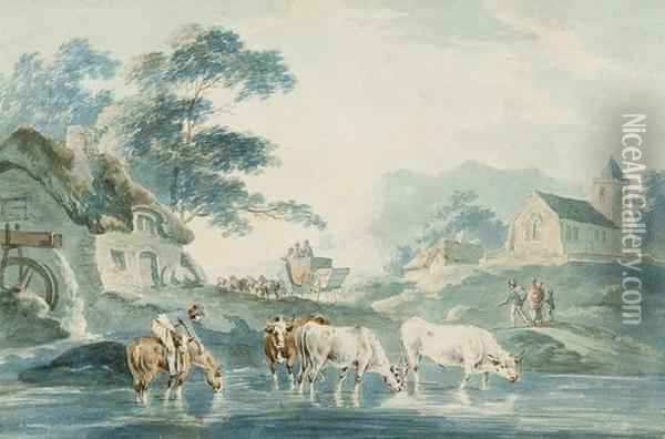 Cattle In A Stream With Watermill, Coach And Horses, Church And Cottages Beyond Oil Painting - Peter La Cave